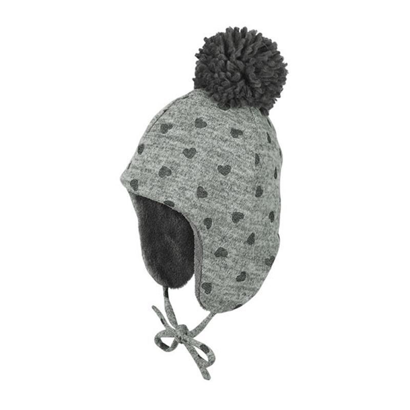 7548ab86ed16 Καπέλο σκούφος με αυτιά και πομ - πον Sterntaler Inca Beanie Cap Hearts