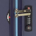 Βαλίτσα σκληρή μεγάλη μπλε με 4 ρόδες Dielle 05N 70, λεπτομέρεια, δεξιά όψη, κλειδαριά