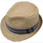 Καπέλο ψάθινο με ριγέ γκρό κορδέλα Stetson Trilby Mandalo Raffia, πάνω όψη