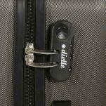 Βαλίτσα σκληρή μεγάλη γκρι με 4 ρόδες Dielle 110L, λεπτομέρεια, κάτω όψη, τροχός, λεπτομέρεια, δεξιά όψη, κλειδαριά συνδυασμού