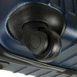 Βαλίτσα σκληρή μεσαία μπλε με 4 ρόδες Dielle 110M, λεπτομέρεια, κάτω όψη, τροχός