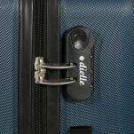 Βαλίτσα σκληρή μεγάλη μπλε με 4 ρόδες Dielle 110, λεπτομέρεια, κάτω όψη, τροχός, λεπτομέρεια, δεξιά όψη, κλειδαριά συνδυασμού