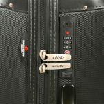 Βαλίτσα σκληρή μικρή μαύρη με 4 ρόδες Dielle 155, λεπτομέρεια, κλειδαριά συνδυασμού