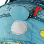 Βαλίτσα παιδική υφασμάτινη Arnold ο πειρατής ιπποπόταμος  Lilliputiens Arnold Trolley, λεπτομέρεια, ετικέτα αναγραφής του ονόματος