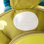 Σακίδιο πλάτης παιδικό δράκος Lilliputiens Walter Backpack, λεπτομέρεια, ετικέτα αναγραφής του ονόματος, μπροστινή όψη
