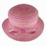 Καπέλο καλοκαιρινό κοριτσίστικο ροζ με φούξια κορδέλα και φιογκάκι
