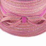 Καπέλο καλοκαιρινό κοριτσίστικο ροζ με φούξια κορδέλα και φιογκάκι, λεπτομέρεια