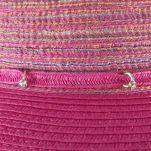 Καπέλο καλοκαιρινό κοριτσίστικο φούξια με ασημί κρίκους με στρας, λεπτομέρεια