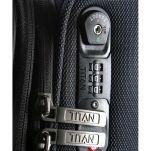 Βαλίτσα μαλακή επεκτάσιμη  ανθρακί με 4 ρόδες μεσαία Titan Nonstop Anthracite Expandable, λεπτομέρεια, κλειδαριά συνδυασμού TSA