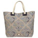 Τσάντα θάλασσας γυναικεία από λινάτσα με μπλε φλοράλ μοτίβα Bohemian Essence