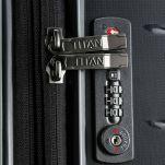 Βαλίτσα σκληρή μεσαία επεκτάσιμη μαύρη Titan Limit Expandable M Spinner Black, δεξιά όψη, λεπτομέρεια, κλειδαριά TSA.