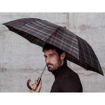 Ομπρέλα σπαστή καρώ αυτόματη με ξύλινη γυριστή λαβή Clima M & P Folding Umbrella 274