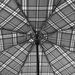 Ομπρέλα συνοδείας σπαστή καρό γκρι αυτόματο άνοιγμα - κλείσιμο Ferré Big Folding Umbrella Check Grey, λεπτομέρεια, μπανέλες