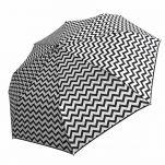 Ομπρέλα γυναικεία ασπρόμαυρη σπαστή χειροκίνητη Guy Laroche Folding Umbrella 8340, ζικ - ζακ