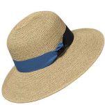 Καπέλο γυναικείο ψάθινο καλοκαιρινό με δίχρωμη γκρο κορδέλα, φυσικό