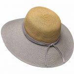 Καπέλο γυναικείο ψάθινο πλατύγυρο καλοκαιρινό δίχρωμο 2 Tone Ladies Straw Hat, γκρι ασημί - φυσικό
