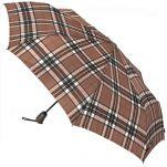 Ομπρέλα σπαστή καρώ αυτόματο άνοιγμα - κλείσιμο H.Due.O. Folding Umbrella Checks, μπεζ - καφέ