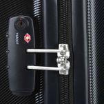 Βαλίτσα σκληρή μαύρη καμπίνας με 4 ρόδες Delsey Pilatus 4W  Black, λεπτομέρεια, αριστερή όψη, κλειδαριά