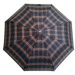 Ομπρέλα σπαστή καρώ με ξύλινη λαβή Guy Laroche Folding Check Umbrella, καρώ μαύρο