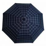 Ομπρέλα σπαστή καρώ με ξύλινη λαβή Guy Laroche Folding Check Umbrella, καρώ μπλε