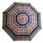 Ομπρέλα σπαστή καρώ με ξύλινη λαβή Guy Laroche Folding Check Umbrella, καρώ μπεζ