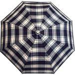 Ομπρέλα σπαστή καρώ με ξύλινη λαβή Guy Laroche Folding Check Umbrella, καρώ εκρού - μαύρο
