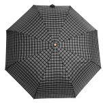Ομπρέλα σπαστή καρώ με ξύλινη λαβή Guy Laroche Folding Check Umbrella, καρώ γκρι