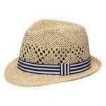 Καπέλο καβουράκι παιδικό μπεζ  ψάθινο με ριγέ κορδέλα Kids Straw Trilby Hat Beige With Striped Ribbon