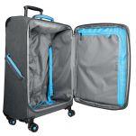 Βαλίτσα υφασμάτινη μεγάλη επεκτάσιμη γκρι με 4 ρόδες BG Berlin Aerolite Luggage 28'' Titanium, εσωτερικό.