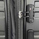 Βαλίτσα σκληρή καμπίνας επεκτάσιμη  ανθρακί  με 4 ρόδες Rain 4W Εxpandable R80104 Luggage 55 cm Anthracite, λεπτομέρεια, κλειδαριά συνδυασμού TSA.
