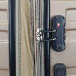 Βαλίτσα σκληρή μεσαία επεκτάσιμη σαμπανί  με 4 ρόδες Rain 4W Expandable RB80104 Luggage 65 cm Champagne, λεπτομέρεια, κλειδαριά συνδυασμού TSA.