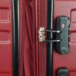 Βαλίτσα σκληρή μεσαία επεκτάσιμη  κόκκινη με 4 ρόδες Rain 4W Expandable RB80104 Luggage 65 cm Red, λεπτομέρεια, κλειδαριά συνδυασμού με TSA.