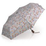 Ομπρέλα γυναικεία σπαστή αυτόματο άνοιγμα - κλείσιμο φλοράλ γκρι Gabol Dalia Folding Umbrella Grey.