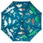 Ομπρέλα παιδική δεινόσαυροι που χρωματίζεται στη βροχή Stephen Joseph Color Changing Umbrella Dino, μισή χρωματισμένη, μισή αχρωμάτιστη.