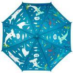 Ομπρέλα παιδική που χρωματίζεται στη βροχή καρχαρίας Stephen Joseph Color Changing Umbrella Shark, μισή χρωματισμένη και μισή αχρωμάτιστη.
