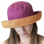 Καπέλο γυναικείο καλοκαιρινό βαμβακερό δίχρωμο Women's Summer 2 Tone Cotton Hat, φούξια.