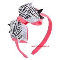 Πιάστρα για τα μαλλιά παιδική ροζ με φιόγκο animal print ζέβρα