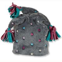 Καπέλο σκουφάκι παιδικό χειμερινό φλις γκρι με πουά και χρωματιστές φούντες Sterntaler Slouch Beanie Hat
