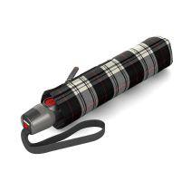 Ομπρέλα σπαστή, αυτόματο άνοιγμα - κλείσιμο, γκρι - μαύρη καρό, Knirps T.200 Duomatic Check