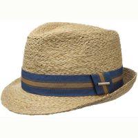 Καπέλο ψάθινο με ριγέ γκρό κορδέλα Stetson Trilby Mandalo Raffia