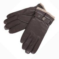 Γάντια ανδρικά δερμάτινα Guy Laroche, καφέ