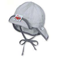 Καπέλο τζόκεϊ  καλοκαιρινό γκρι ριγέ με αντηλιακή προστασία και μπαντάνα Sterntaler