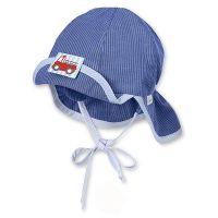 Καπέλο τζόκεϊ  καλοκαιρινό σιέλ ριγέ με αντηλιακή προστασία και μπαντάνα Sterntaler