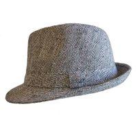 Καπέλο καβουράκι γυναικείο γκρι  χειμερινό Tweed, δεξιά όψη