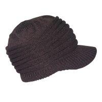 Καπέλο σκούφος πλεκτός με γείσο, καφέ