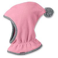 Καπέλο μπαλακλάβα παιδική ροζ φλις με πομ - πον Sterntaler