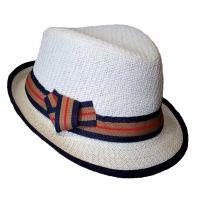 Καπέλο καβουράκι παιδικό λευκό  ψάθινο με ριγέ κορδέλα