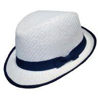 Καπέλο καβουράκι παιδικό λευκό  ψάθινο με σκούρα μπλε κορδέλα