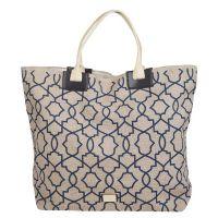 Τσάντα θάλασσας γυναικεία από λινάτσα με μπλε γεωμετρικά σχέδια Moroccan Tile