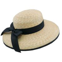 Women's Summer Straw Hat With Black Ribbon And Bow